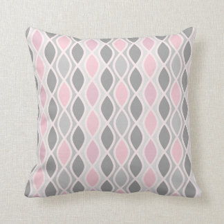 Chic Pink and Gray Trellis Pattern Throw Pillow