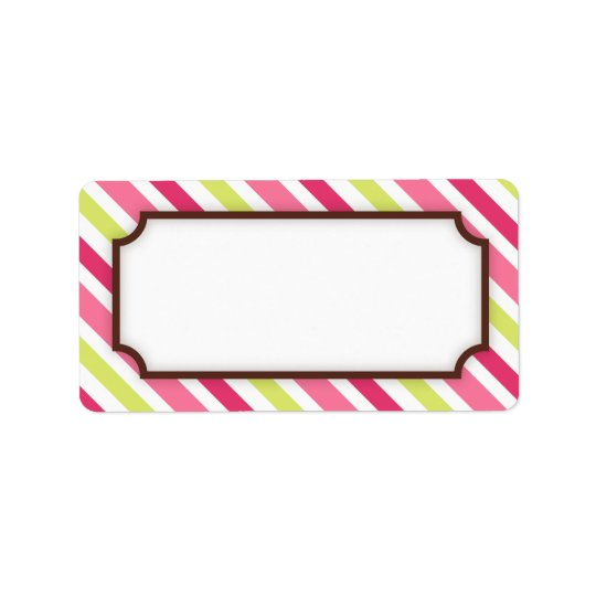 Chic pink and lime green stripes blank label