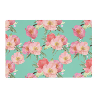 Chic Pink and Mint Watercolor Flowers Placemat