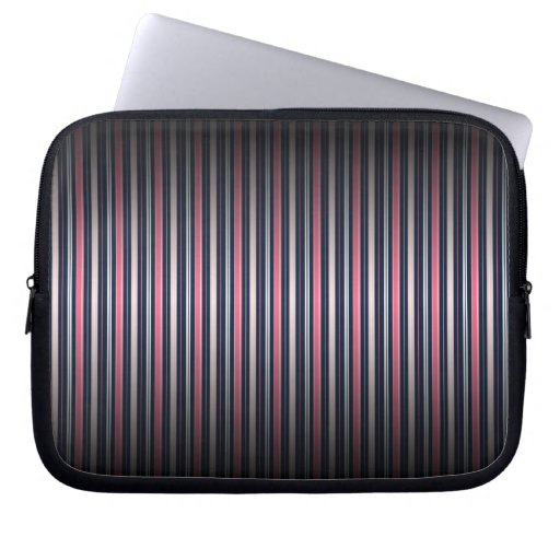 Chic Pink and Navy Blue Stripe Pattern Laptop Sleeve