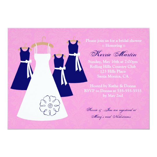 Chic Pink and Navy Bridal Shower Invitation