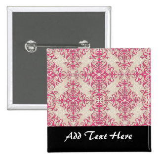 Chic Pink and Off White Floral Damask Pattern Button