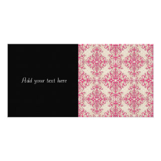 Chic Pink and Off White Floral Damask Pattern Card