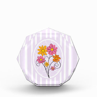 Chic pink and orange floral acrylic award