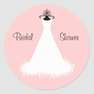 Chic Pink and White Bridal Shower Envelope Seal Classic Round Sticker