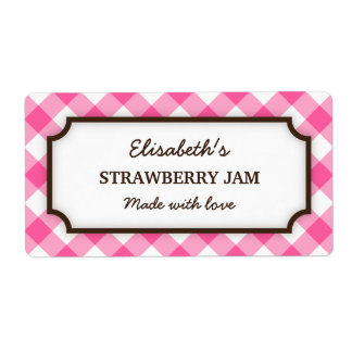 Chic pink and white gingham canning jar labels