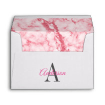 Chic Pink and White Glitter Marble  Monogram Envelope