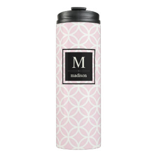 Chic Pink and White Pattern with Black Monogram Thermal Tumbler