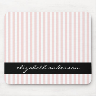 Chic Pink and White Stripes Mouse Pad