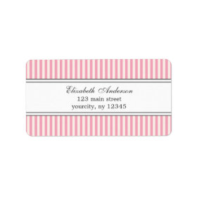 Chic Pink and White Stripes Pattern Labels