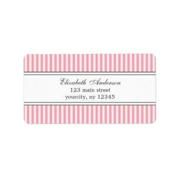 heartlocked Chic Pink and White Stripes Pattern Labels