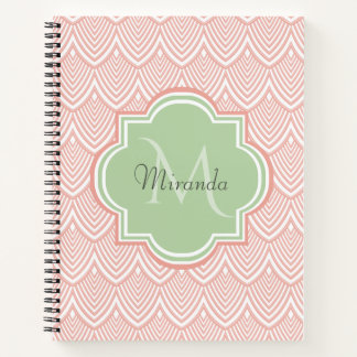 Chic Pink Arched Scallops Soft Green Monogram Name Notebook