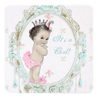 Chic Pink Baby Shower 5.25x5.25 Square Paper Invitation Card
