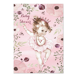 Chic Pink Ballerina Watercolor Poppies Baby Shower 5x7 Paper Invitation Card