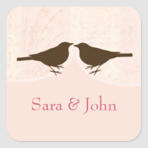 Chic pink bird cage, love birds envelope seal