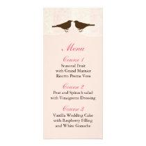 Chic pink bird cage, love birds Menu Cards