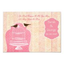 Chic pink bird cage, love birds RSVP 3.5 x 5 Card
