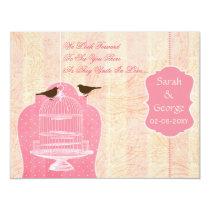 Chic pink bird cage, love birds RSVP Card