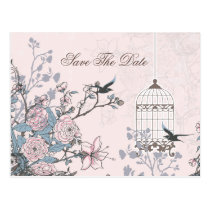 Chic pink bird cage, love birds save the dates postcard