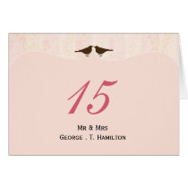 Chic pink bird cage, love birds table numbers card