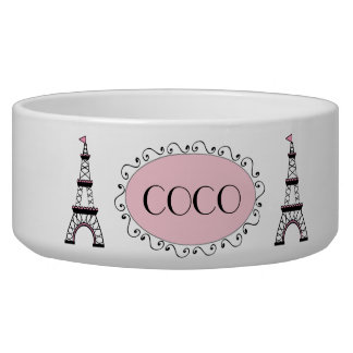 Chic Pink Black Eiffel Tower Name Dog Pet Bowl