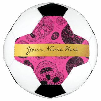 Chic Pink & Black Sugar Skulls with Gold Banner Soccer Ball