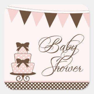 Chic pink + brown girls baby shower stickers