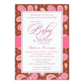 """Chic pink + brown paisley baby shower invitation 5"""" x 7"""" invitation card"""