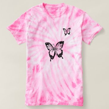 Beach Themed Chic Pink Butterfly Graphic Tie Dye Top For Women.