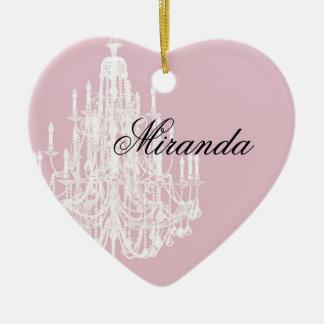 Chic Pink Chandelier Ceramic Ornament