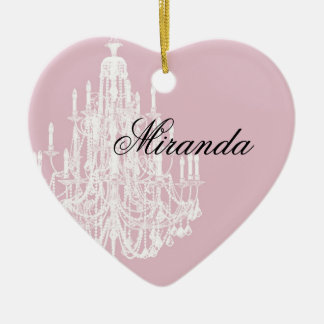 Chic Pink Chandelier Double-Sided Heart Ceramic Christmas Ornament