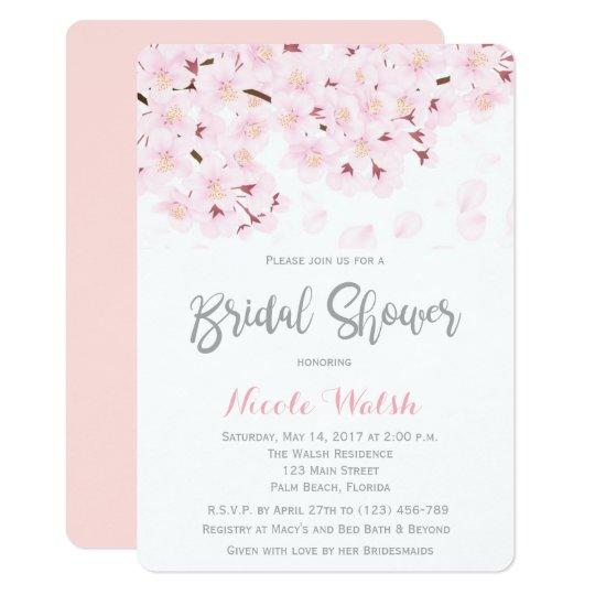 69206e6c0453 Chic Pink Cherry Blossom Bridal Shower Invitation