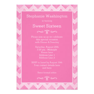 Chic Pink Chevron Sweet 16 Double Sided Print Invites