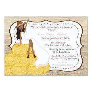 Chic Pink Cowgirl Country Bride Bridal Shower 5x7 Paper Invitation Card