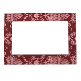 Chic Pink Damask on Deep Red Magnetic Picture Frame
