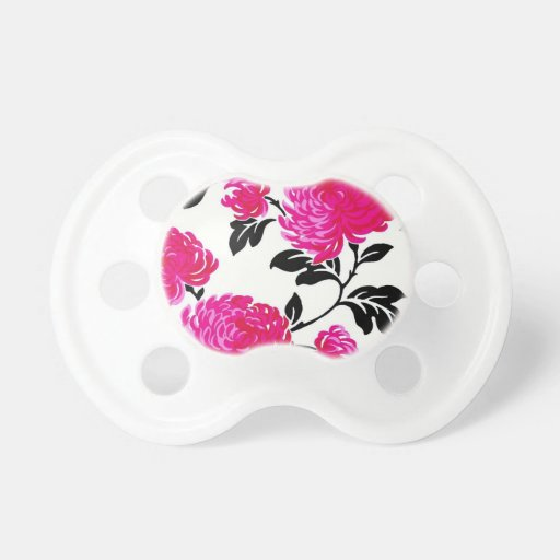 Chic Pink Damask Pacifiers