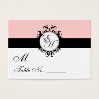 Chic Pink Damask Place Cards for Weddings Monogram