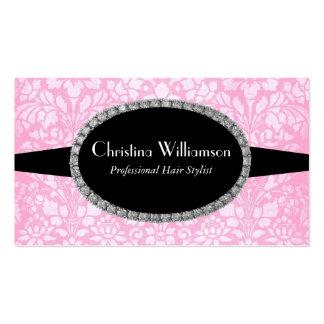 Chic pink Damask Rhinestones Business Cards