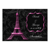 chic pink eiffel tower Paris wedding invitation