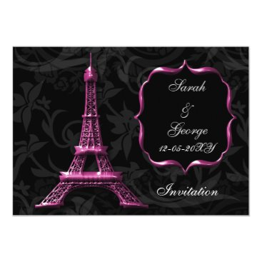 chic pink eiffel tower Paris wedding invitation