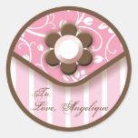 Chic Pink Fashion Gift Label Round Sticker