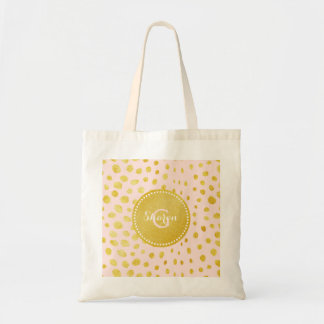 Chic pink faux gold glitter cheetah print monogram budget tote bag