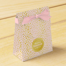 Chic pink faux gold glitter cheetah print monogram favor box
