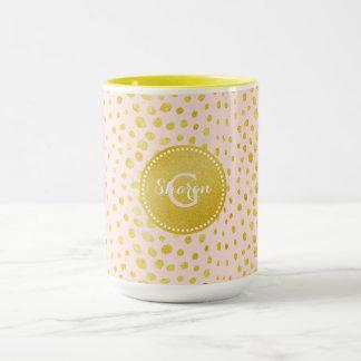 Chic pink faux gold glitter cheetah print monogram mug