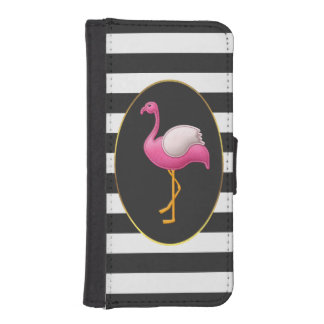 Chic Pink Flamingo Black and White Stripes Wallet Phone Case For iPhone SE/5/5s