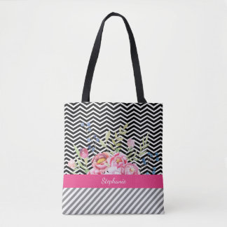 Chic Pink Floral Black and White Chevrons and Name Tote Bag