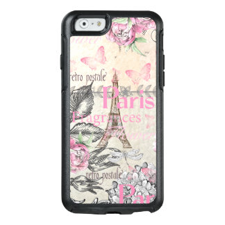Chic pink floral Paris Eiffel Tower typography OtterBox iPhone 6/6s Case