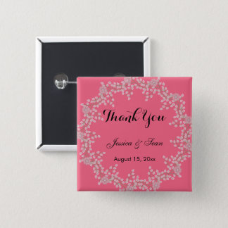 Chic Pink Floral & Pearls Wedding Thank You Pinback Button