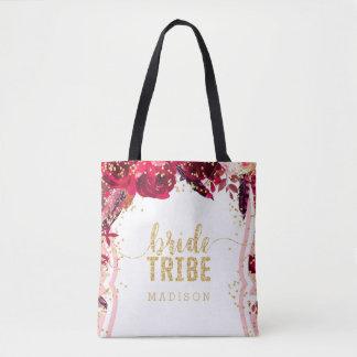 Chic Pink Floral Stripes Gold Confetti Bride Tribe Tote Bag