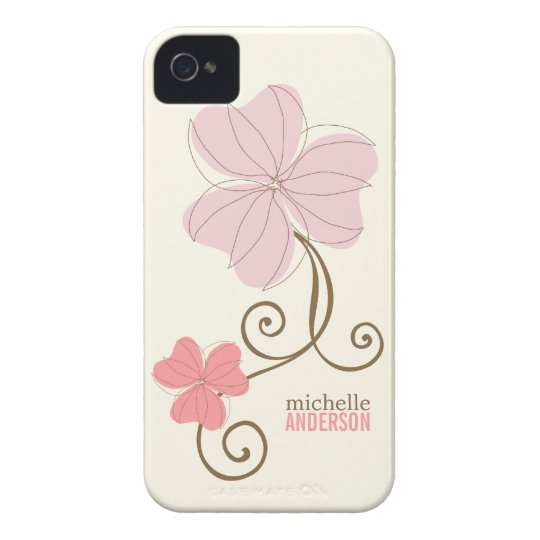 Chic Pink Florals iPhone 4 Case